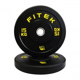 15kg Pair Virgin Rubber Black Bumper Plates V3