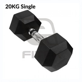 20KG Single Hex Rubber Dumbbell