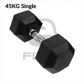 45KG Single Hex Rubber Dumbbell