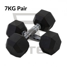 7KG Pair Hex Rubber Dumbbell