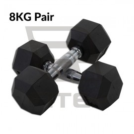 In-Stock 8KG Pair Hex Rubber Dumbbell
