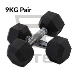 9KG Pair Hex Rubber Dumbbell